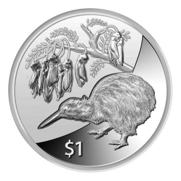 "1 NZD Neuseeland ""Kiwi"" 2012 Silber St"