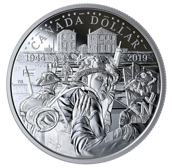 """1 $ Kanada """"75. Jahrestag des D-Day"""" 2019 Silber PP"""