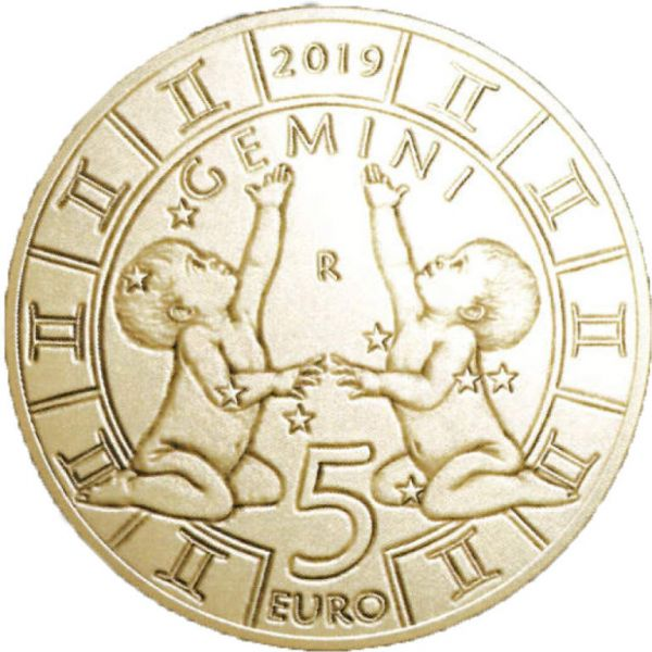 """5 Euro San Marino """"Tierkreiszeichen - Zwillinge"""" 2019 Br/CN St"""
