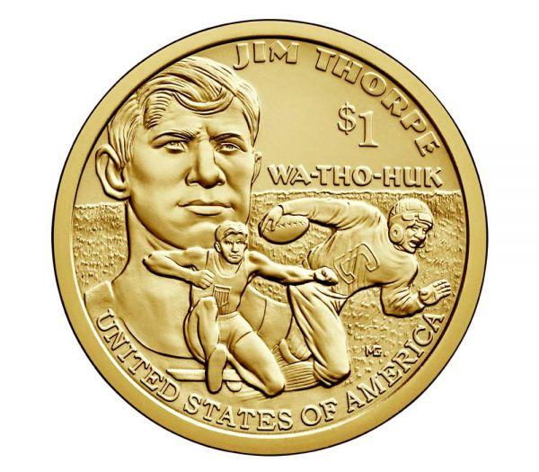 """1$ USA """"Sacagawea / Jim Thorpe"""" 2018 CN vz"""
