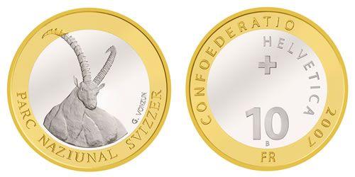 """10 CHF Schweiz """"Steinbock"""" 2007 Silber St"""