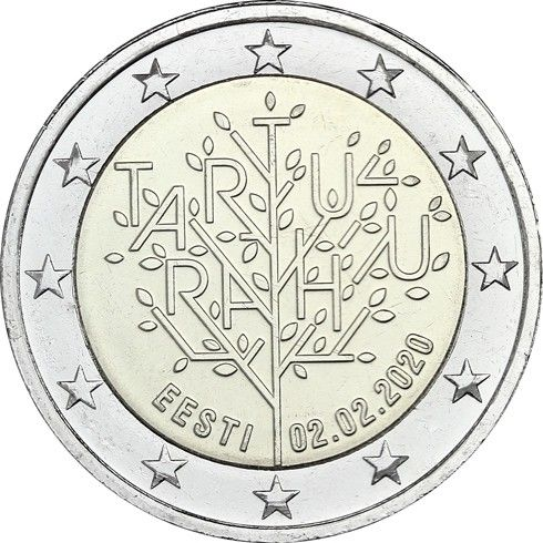 2 Euro Estland 100 J. Friedensvertrag von Tartu 2020 CN bfr