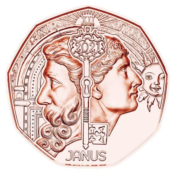 5 Euro Österreich Neujahrsmünze Janus 2021 Cu vz