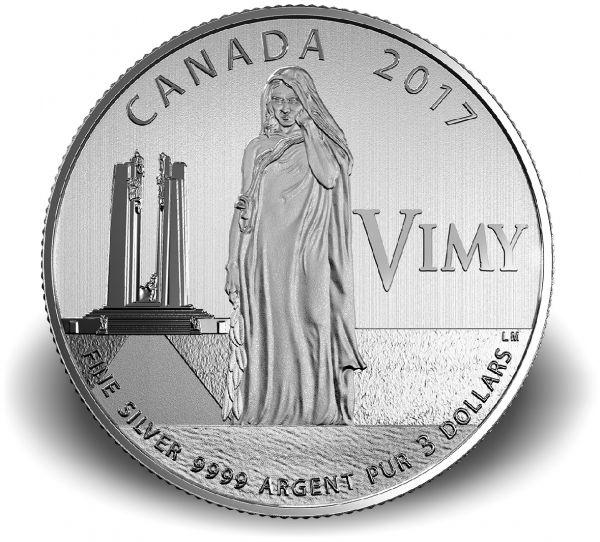 """3 $ Kanada """"100 J. Schlacht v. Vimy Ridge"""" 2017 Ag St"""