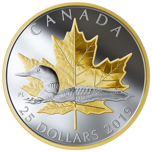 "25 $ Kanada ""Maple Leaf und Loony"" 2019 Silber PP"