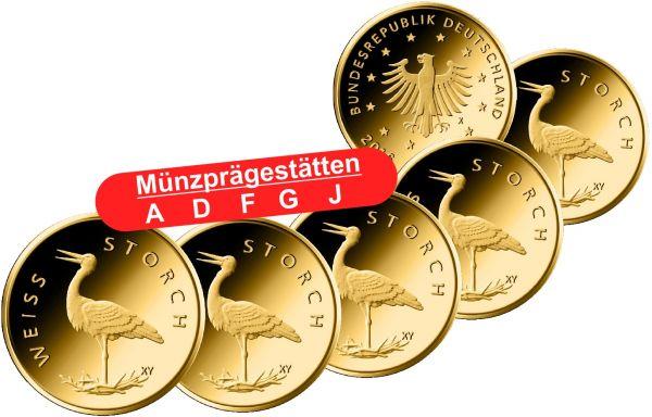 5x 20 Euro DE Weißstorch 2020 Gold St 1/8oz A-J