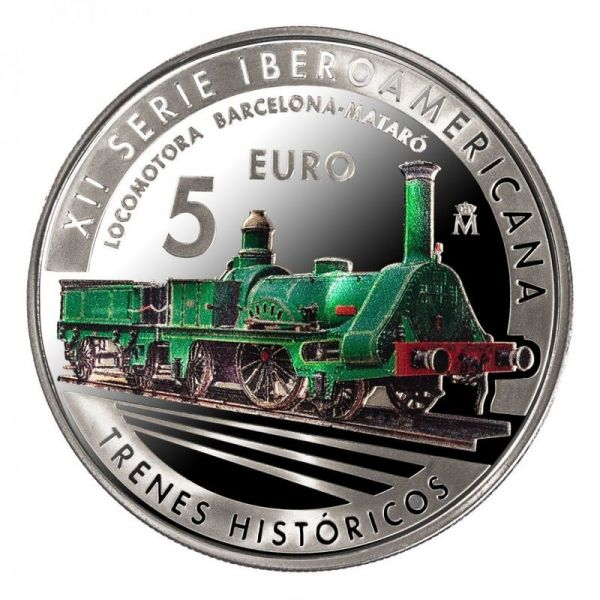 5 Euro Spanien Iberoamerikan. Serie - Eisenbahn 2020 Silber PP