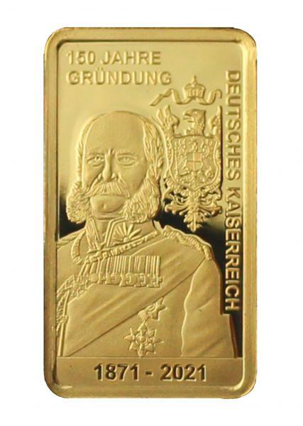 150 J. Gründung Deutsches Kaiserreich Goldbarren 0,5 g PL