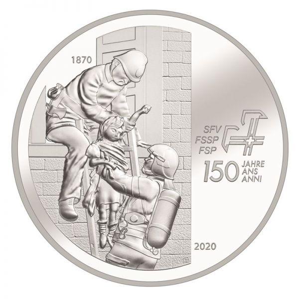 20 CHF Schweiz 150 J. Feuerwehrverband 2020 Silber St