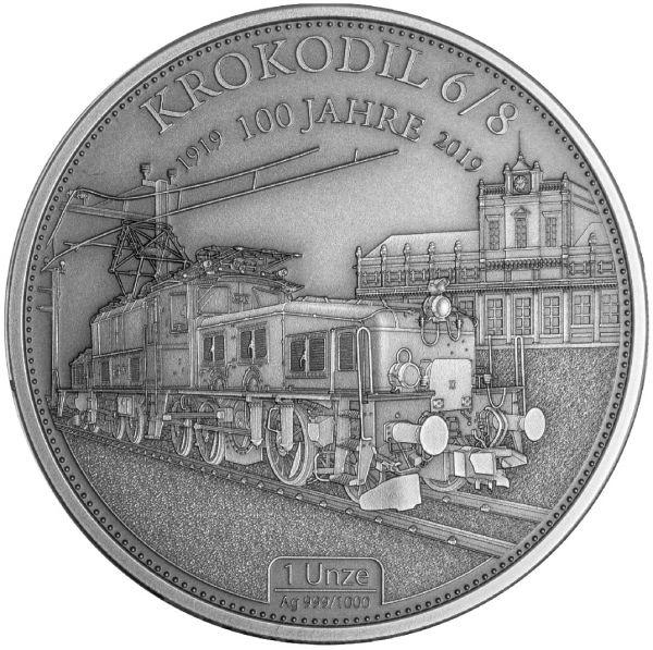 1 Unze Krokodil-Eisenbahn 2019 Silber Antik Finish