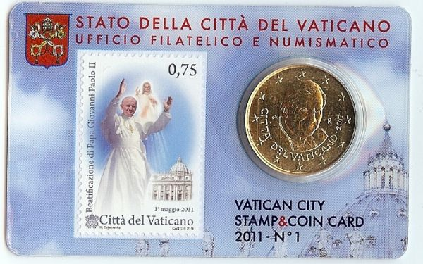 50 Cent Vatikan Coincard 2011 inkl. Briefmarke