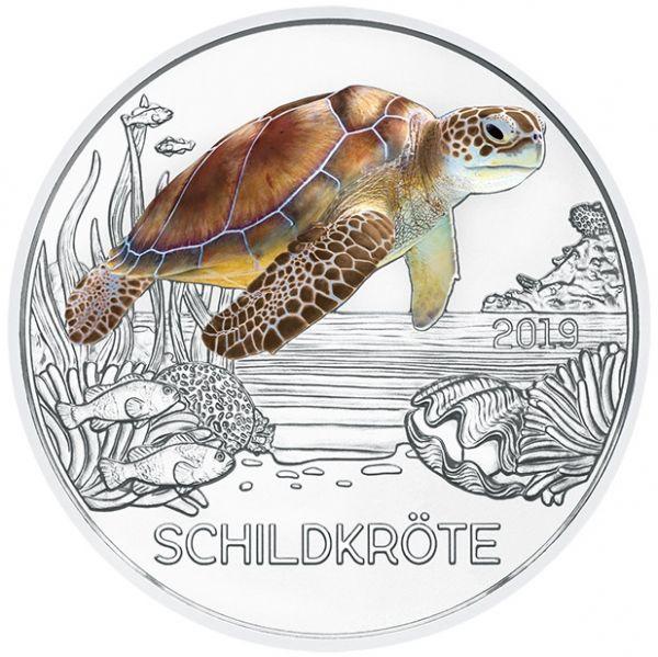 """3 € Österreich """"Tiertaler - Schildkröte"""" 2019 Buntmetall hgh"""