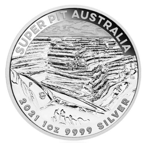 1 Dollar Australien Goldmine Super Pit 2021 Silber St