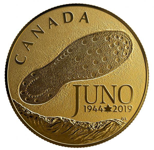 """100 $ Kanada """"75 Jahre D-Day Juno Beach"""" 2019 Gold PP"""