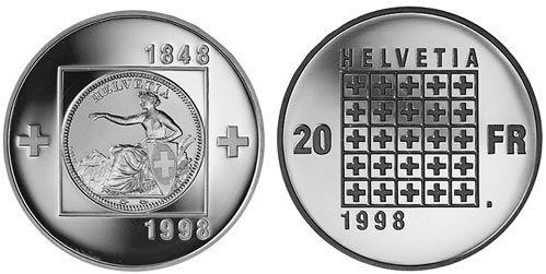 20 CHF 150 Jahre Bundesstaat 1998 Ag St