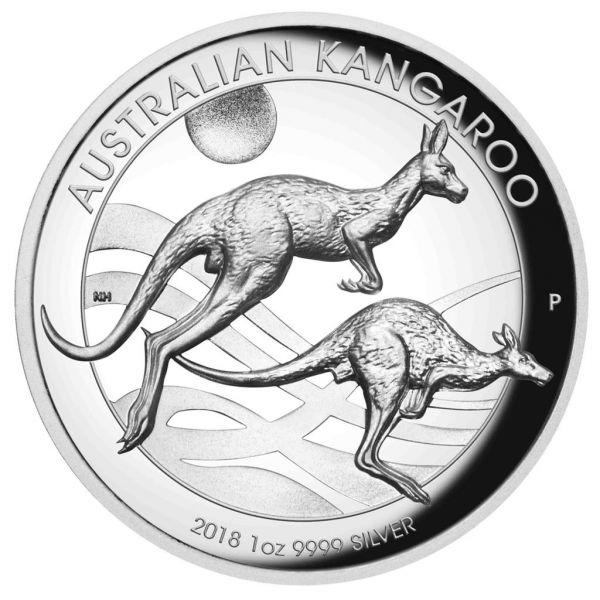 1 $ Australien Känguru 2018 1oz Silber PP -Highrelief-