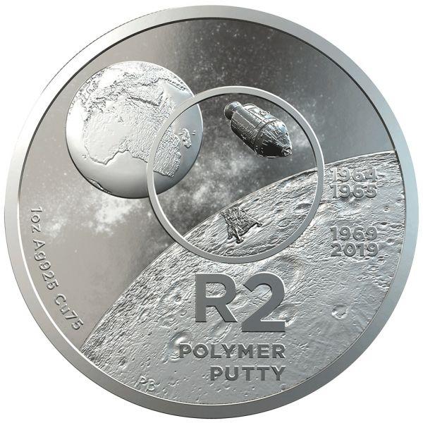 "2 Rand Südafrika ""50 J. Mondlandung"" 2019 Silber PP"