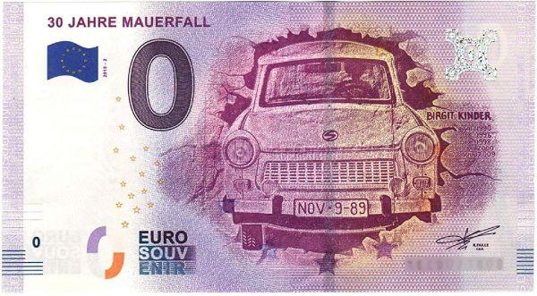 0 € Banknote 30 Jahre Mauerfall 2019 druckfrisch