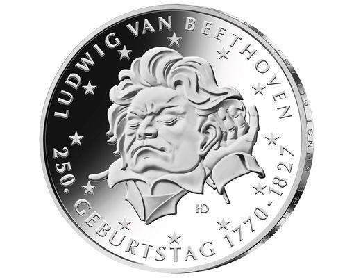 20 Euro DE 250. Geb. Ludwig van Beethoven 2020 Silber St -F-