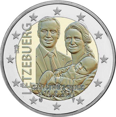 2 Euro Luxemburg Geburt von Prinz Charles 2020 CN bfr Relief