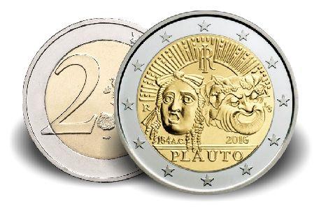 """2 € Italien """"2.200 Todestag Titus Maccius Plautus"""" 2016 CN vz"""