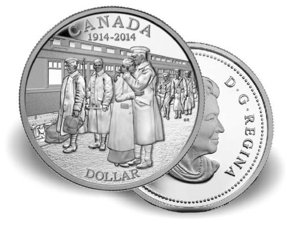 """1 $ Kanada """"100. Jt. der Erklärung d. 1. Weltkrieges"""" 14 Ag St"""
