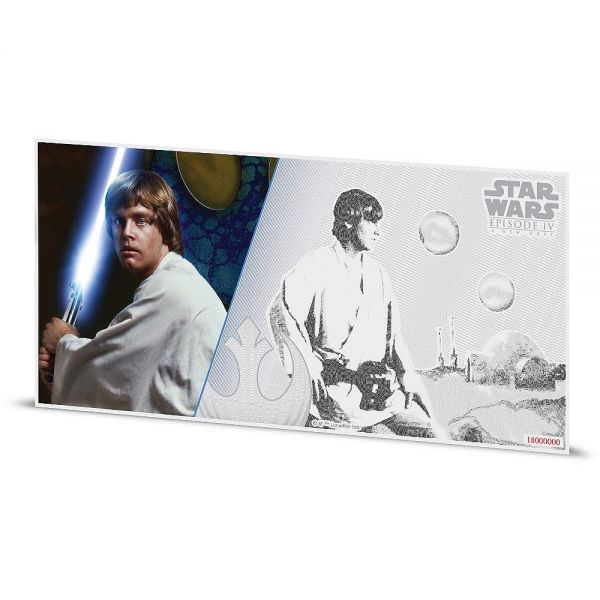 "1 Dollar Niue ""Star Wars - Luke Skywalker"" Banknote 2018 Ag St"