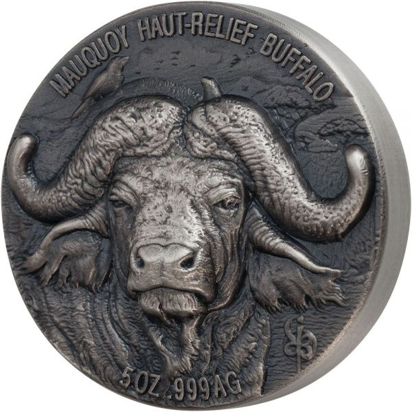 "5.000 Francs ""Mauquoy Haut-Relief Wasserbüffel"" 2020 Silber AF"