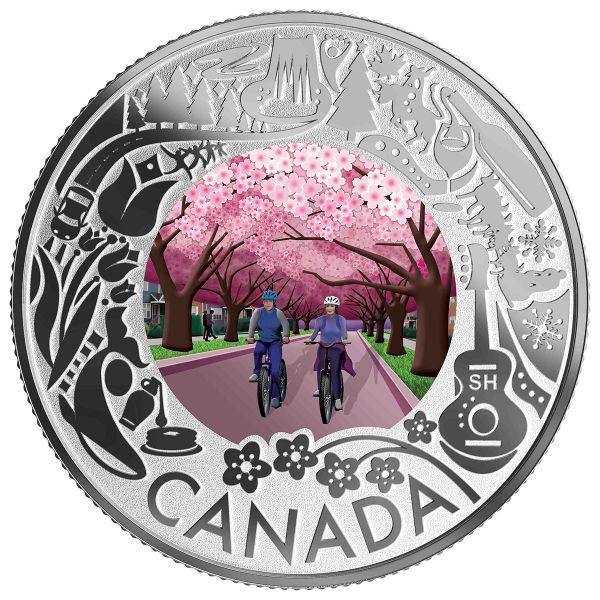 "3 $ Kanada ""Kan. Feste - Kirschblüte"" 2019 Silber PP"