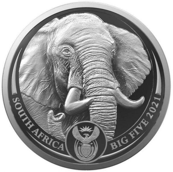 5 Rand Südafrika Big Five II - Elefant 2021 Silber St