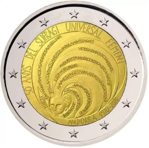 2 Euro Andorra 50 J. Allgemeines Frauenwahlrecht 2020 CN ST