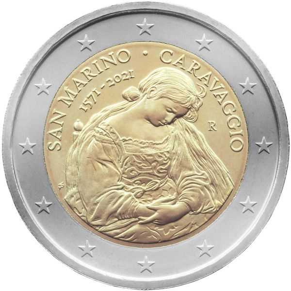 2 Euro San Marino 450. Todestag Caravaggio 2021 CN vz