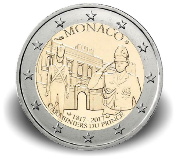 "2 € Monaco ""200 J. Karabinierskompanie"" 2017 CN PP"