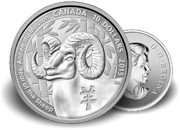 """10 $ Kanada """"Jahr der Ziege"""" 2015 1/2oz Ag St"""