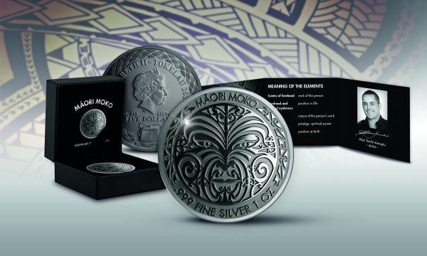 "5$ Tokelau ""Maori Moko"" 2017 1oz Silber RP"