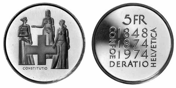 5 CHF Verfassung 1974 CuNi St
