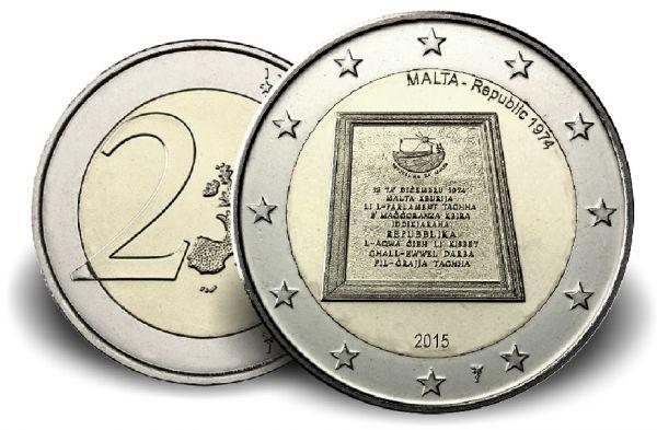 """2 € Malta """"Republik von 1974"""" 2015 CN vz"""