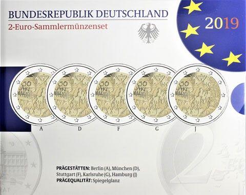 """5x2 € Deutschland """"30 J. Fall Berliner Mauer"""" 2019 CN PP A-J"""