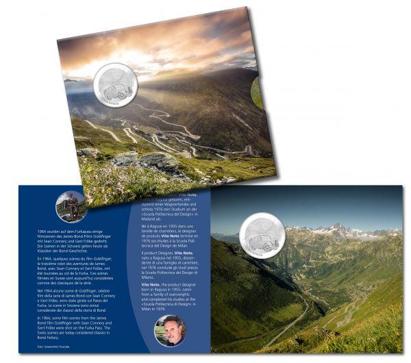 """20 CHF Schweiz """"Furkapass"""" im Folder 2019 Silber St"""