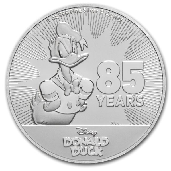 2 Dollar Niue Disney´s Donald Duck 2019 Silber St