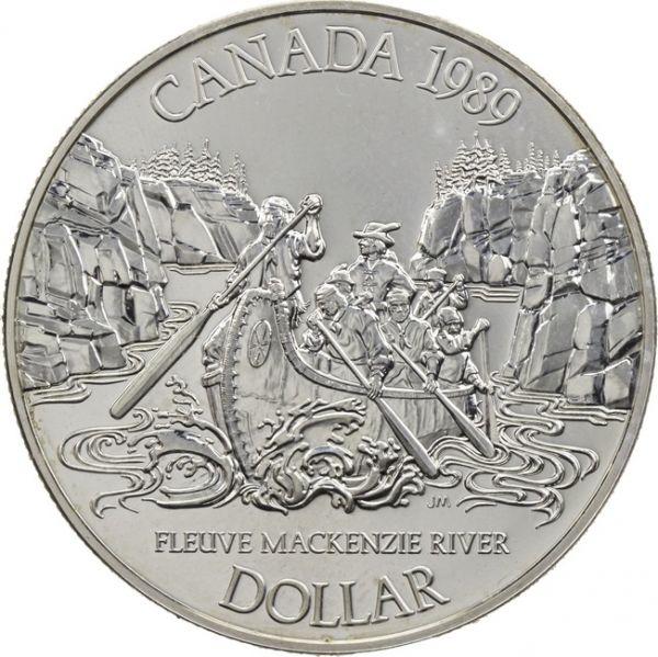 1$ Kanada Mackenzie River 1989 Ag PP