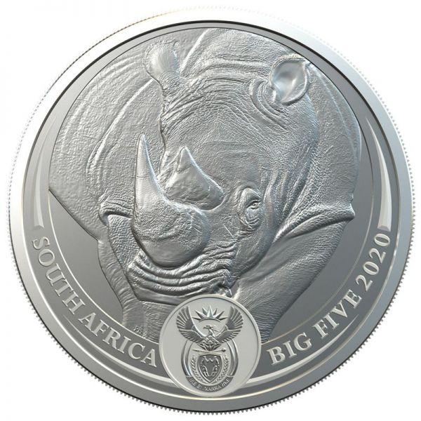 5 Rand Südafrika Big Five - Nashorn 2020 Silber St