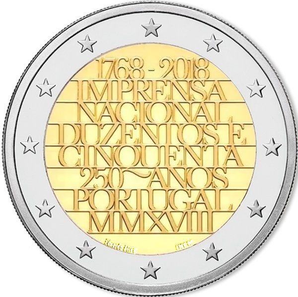"2 € Portugal ""250 J. Staatliche Prägestätte INCM"" 2018 CuNi bfr"