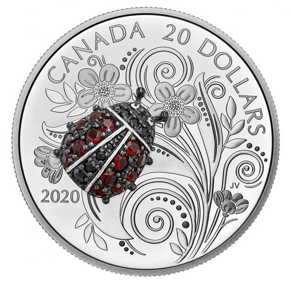 20 Dollar Kanada Bejeweled Bugs - Marienkäfer 2020 Silber PP