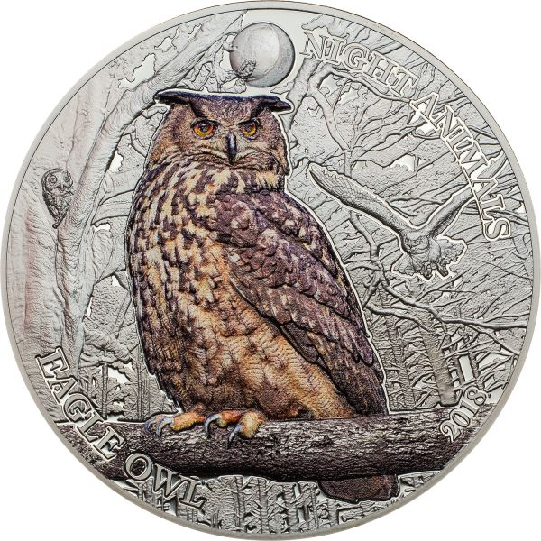"5 $ Cook Islands ""Night Animals - Eagle Owl"" 2018 Silber BP"