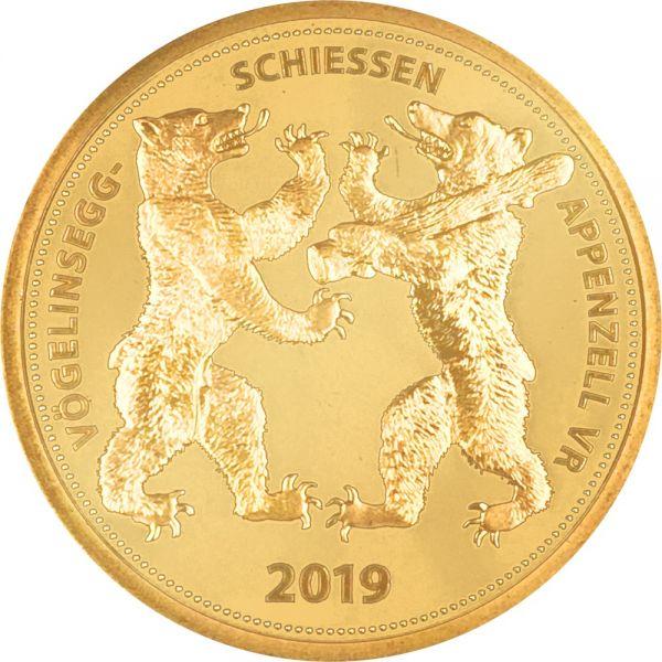 """500 CHF Schützentaler """"Appenzell Vögelinsegg"""" 2019 Au PP"""