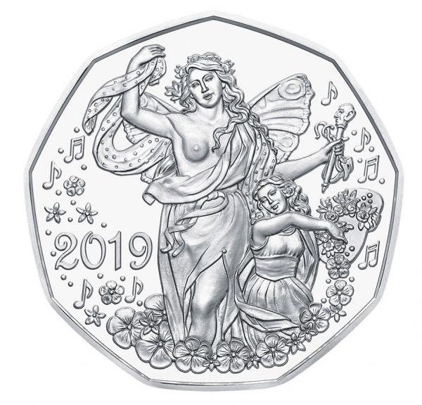 """5 € Österreich """"Neujahr - Lebensfreude"""" 2019 Silber hgh"""