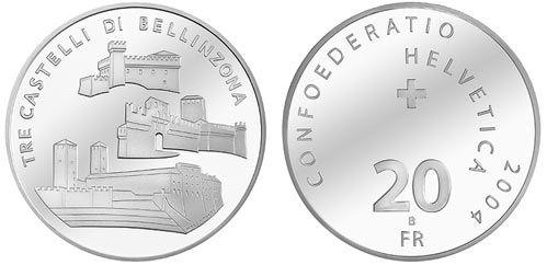 20 CHF Tre Castelli di Bellinzona 2004 Ag St