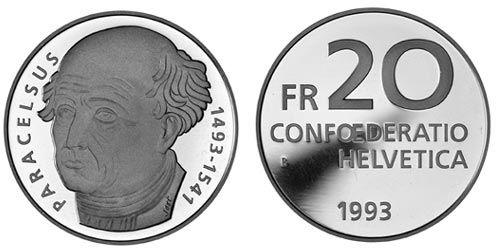 20 CHF Paracelsus 1993 Ag St
