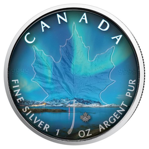 """5 $ Kanada """" Maple Leaf - Nordlichter Nunavut"""" 2018 Silber St"""